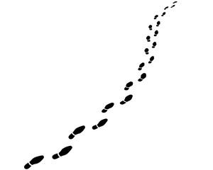 Perspektivische Fußspur / Business-Schuhe / Vektor, schwarz-weiß, freigestellt