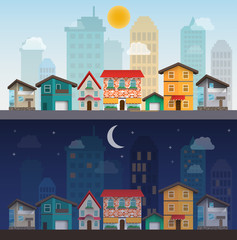 colorful houses in day and night, vector illustration