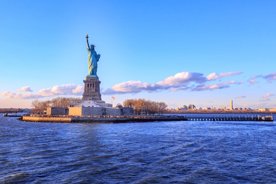 Statue of Liberty during sunset time.