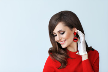 Fashion portrait of young beautiful woman in retro style on white background