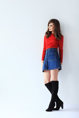 Full length fashion portrait of young beautiful woman in retro style
