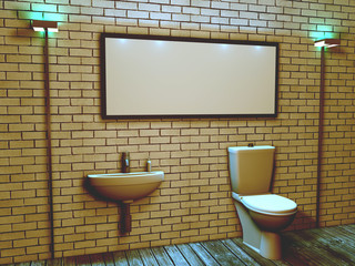 3d interior of the toilet in a loft style, with a rectangular space for your inscriptio
