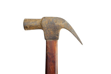 Old hammer on isolate background/The hammer is tools of mechanic/Hammer use in building construction