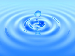 Drop water and ripple on blue surface. 3D illustration.