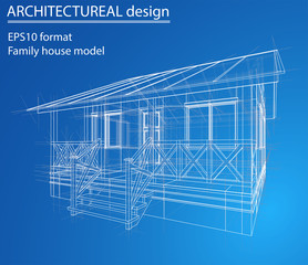 House wireframe structure. Vector