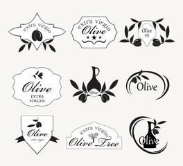 set of olive oil labels, vector illustration