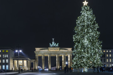 Printed roller blinds Berlin Christmas tree at the Brandenburg Gate, Berlin, Germany
