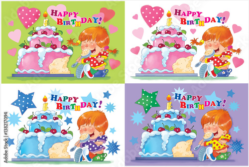 Set Of Birthday Greeting Cards Cute Boy And Girl Eating Their Cakes Illustration For Children