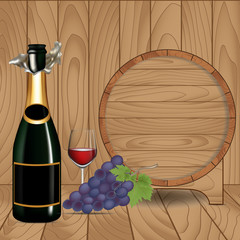 Open Bottle  champagne and wooden barrel on wood background