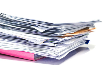 close up - file folder and Stack of business report paper file  with white background. - isolated