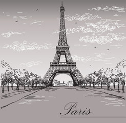 Landscape with Eiffel tower in black and white colors on grey background