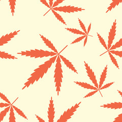 Seamless pattern with leaves marijuana