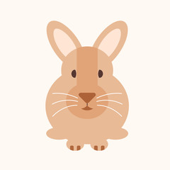 Rabbit flat design cartoon isolated vector