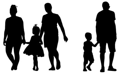 Silhouettes of parents holding kids hands isolated on white