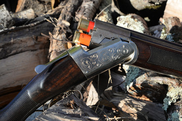 hunting rifle on a fire wood outdoors