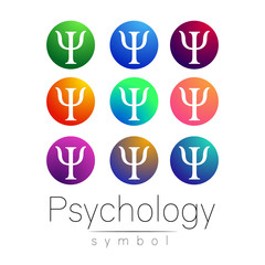 Modern Sign Set of Psychology. Creative style. Icon in vector. Bright color letter on white background. Symbol for web, print, card