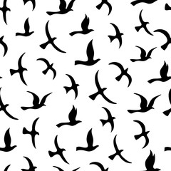 Flying birds seamless pattern.