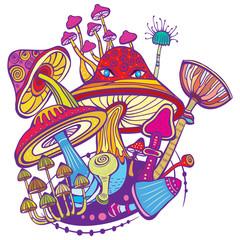 Group of decorative mushrooms