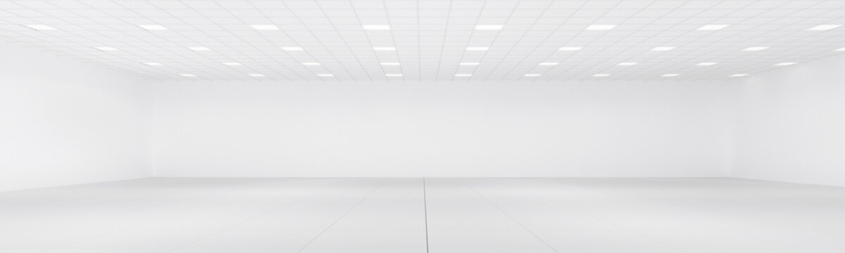 Empty white room with neon lights