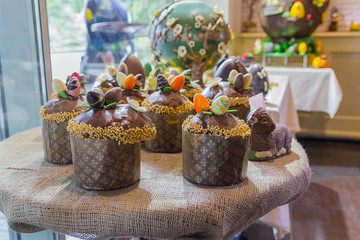 Chocolate Easter cakes are on the table