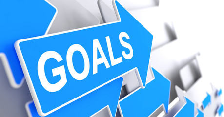 Goals - Message on the Blue Pointer. 3D.
