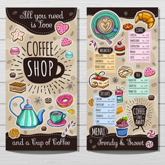 Coffee shop brochure vector, cafe menu design, sketch style. Coffee, desserts, tea, breakfast, cakes, donut, croissant, quote, coffee take away. Lettering, cup, logo, trendy. Hand drawn vector.