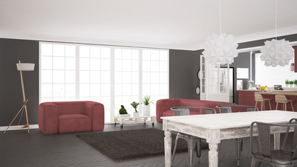 Minimalist white and red living and kitchen, scandinavian classic interior design