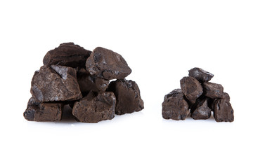 Brown coal on a white background