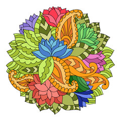 Colorful circle floral ornament with lotuses, paisleys and leaves in gypsy style.