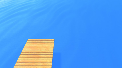 Wood deck on blue sea