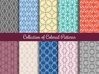 Wall Mural - Modern floral pattern set in vintage style. Seamless patterns collection with calligraphic swirls