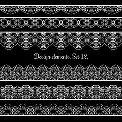 Wall Mural - Floral border set. Vector frame elements for beautiful cards design