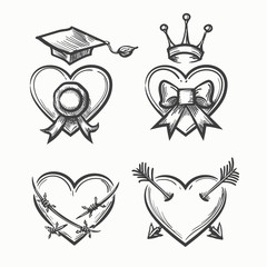 Wall Mural - Hand drawn hearts in tattoo sketch style. Heart with crown and arrow, bow graduation cup vector illustration