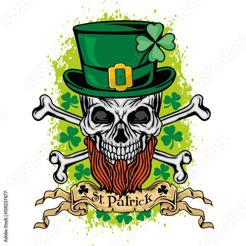 f75b3e7d Irish coat of arms with skull and clover, grunge vintage design t shirts