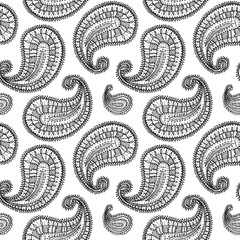 Ethnic paisley seamless pattern in vector. Endless abstract design background.