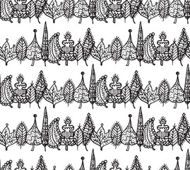 Black and white crossed leaves seamless pattern in vector.