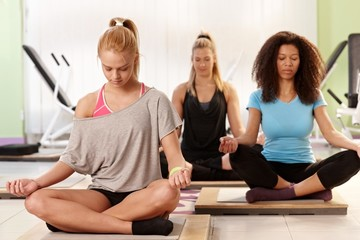 Young women relaxing at the gym