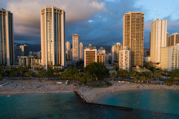 Aerial drone image of Waikiki Beach at sunset
