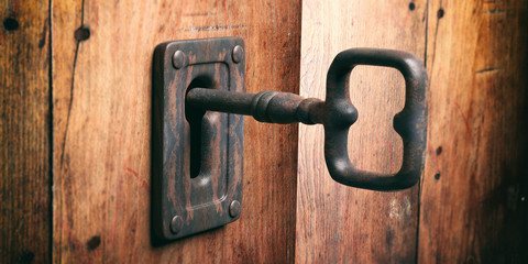 Old key in a keyhole. 3d illustration