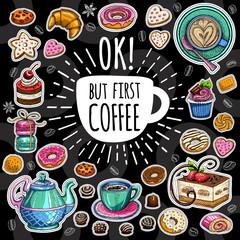 Coffee trendy vector set.