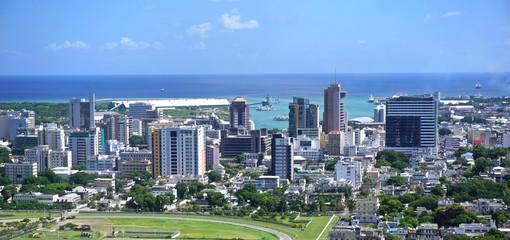 Aerial  panorama of Port Louis Mauritius skyline