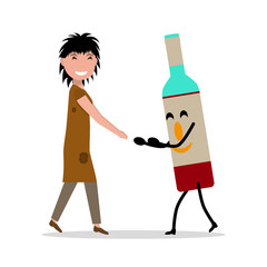 Vector cartoon young adult woman bottle alcohol