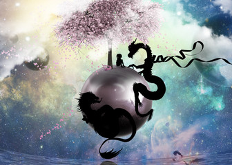 Will you be my friend chinese dragons and little girl in outer space silhouette art photo manipulation