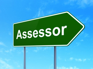 Insurance concept: Assessor on road sign background