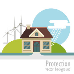eco house with wind turbine. vector background