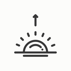 Sun line simple icon. Weather symbols. Sunrise, sunset. Forecast design element. Template for mobile app, web and widgets. Vector style linear icon. Isolated illustration. Flat sunlight, sign. Logo.