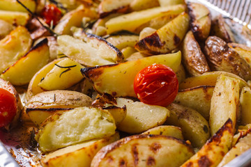 Fried potato with herbs.
