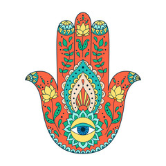 Indian hand drawn hamsa. Hamsa henna tattoo with ethnic ornament.