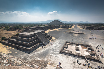 Pyramids of the Sun and Moon on the Avenue of the Dead, Teotihuacan, Mexico