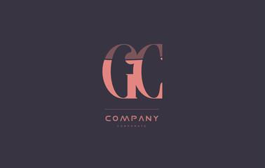 gc g c pink vintage retro letter company logo icon design